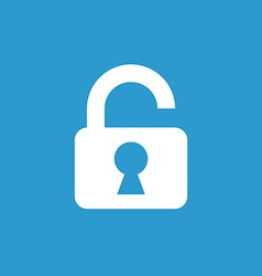unlock icon white on the blue background vector image