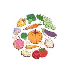 vegan food round concept vector image