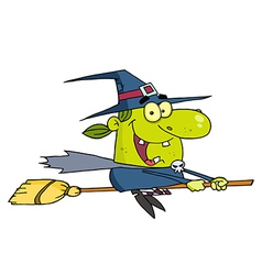 Wicked Halloween Witch Flying vector
