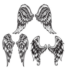Wings bird feather black white tattoo set 8 vector