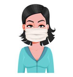 Woman in medical mask novel coronavirus 2019-ncov vector