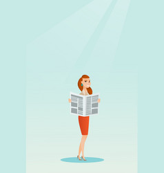 Woman reading a newspaper vector