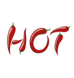 Word HOT assembled from red peppers vector image