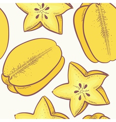 Yellow carambola seamless pattern vector