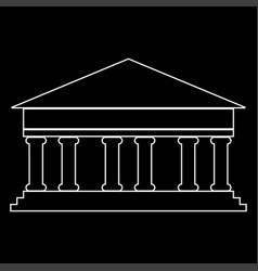 bank building the white path icon vector image