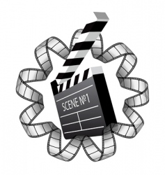 clapboard and film strip vector image