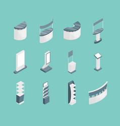 exhibition stands 3d icons set isometric view vector image vector image