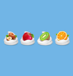 fruit nuts in yogurt hazelnuts kiwifruit apple vector image vector image