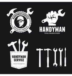 Handyman labels badges emblems and design elements vector image vector image