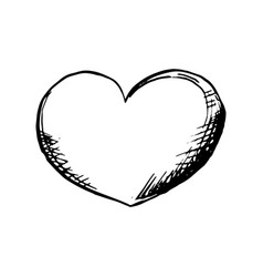 heart roungh doodle shape in sketch style outline vector image vector image
