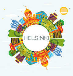 helsinki skyline with color buildings blue sky vector image vector image