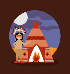 native american indian teepee bonfire and night vector image vector image