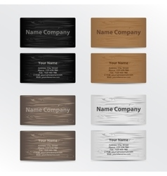 Set of Business Cards with Wood Texture vector image