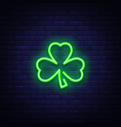 shamrock is a neon sign neon icon light symbol vector image