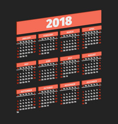 three dimensional 2018 year calendar vector image