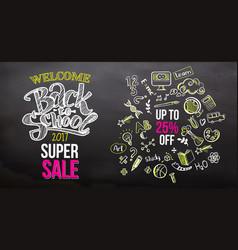 back to school super sale on blackboard vector image