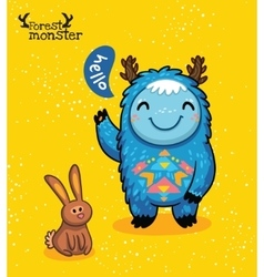 Funny blue monster with hare on yellow background vector image