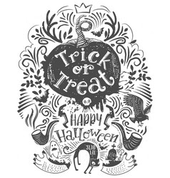 hand drawn halloween lettering quote vector image vector image