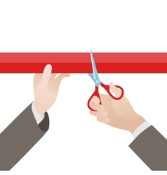 Hand with scissors cut the red ribbon vector image vector image