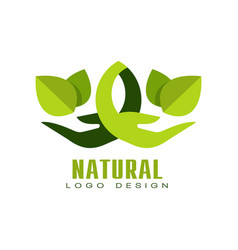 natural logo design healthy organic food label vector image vector image