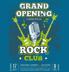 rock music club poster with music guitars vector image vector image