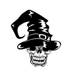 skull in halloween hat vector image