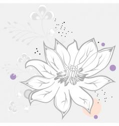 white flower on grey background vector image