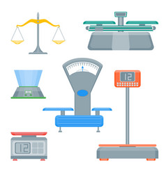 cartoon weight scales color icons set vector image vector image