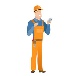 caucasian builder holding a mobile phone vector image