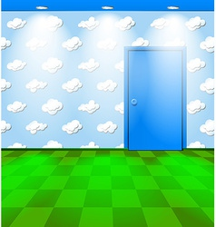 Eco themed room with door vector image