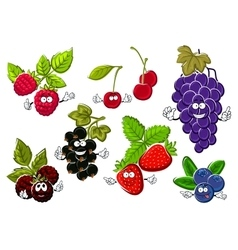 Garden berry fruits happy characters vector image vector image