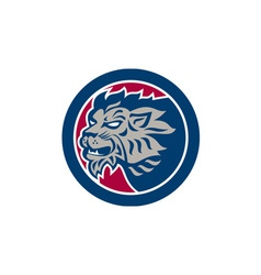 Lion Head Side Retro Circle vector image vector image