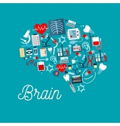 Medical icons formed as human brain symbol vector image vector image