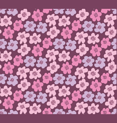 Pink color summer floral in retro 60s style vector