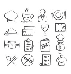 Restaurant doodle icons vector