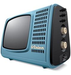 Vintage compact television receiver vector