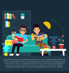 boys reading books in living room vector image