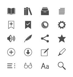 E-book reader flat icons vector image