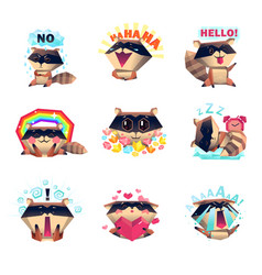 emotions of raccoon set cartoon style vector image