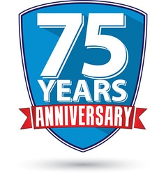 Flat design 75 years anniversary label with red vector image vector image