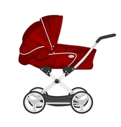 red child pram baby carriage or stroller vector image