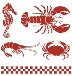 Seafood sea creatures vector