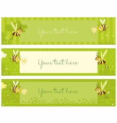 spring vintage banners with bees vector image vector image