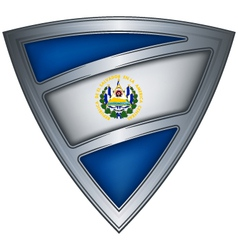 steel shield with flag el salvador vector image vector image