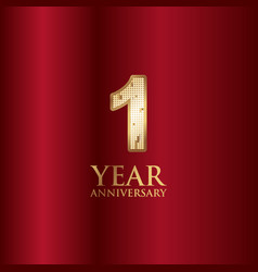 1 year anniversary gold with red background vector