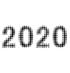 2020 new year figures date halftone style vector image