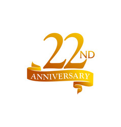 22 year ribbon anniversary vector
