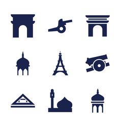 9 historic icons vector