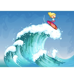 A girl surfing vector