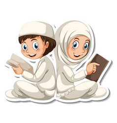 A sticker template with muslim boy and girl vector